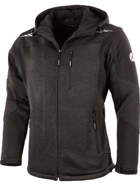 Aldrin Strickfleece-Jacke mit Kapuze schwarz
